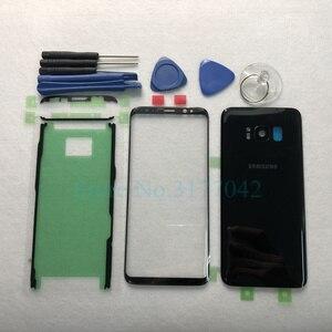 Image 2 - 삼성 갤럭시 s8 plus s8 + g955f s8 g950 g950f 전면 터치 패널 외부 렌즈 + 후면 배터리 도어 후면 유리 하우징 커버