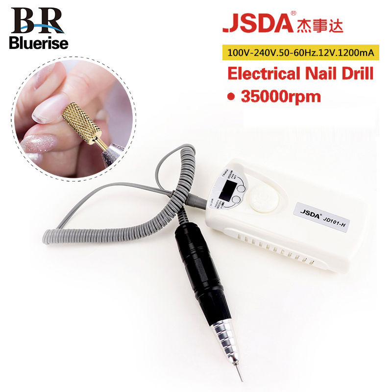 BLUERISE JSDA 1200mAh Powerful Portable Rechargeable Smart Electric Nail Drill Carving Machine Manicure Pedicure Kits File Drill pro powerful 25000rpm electric nail drill pedicure manicure machine set with pedal
