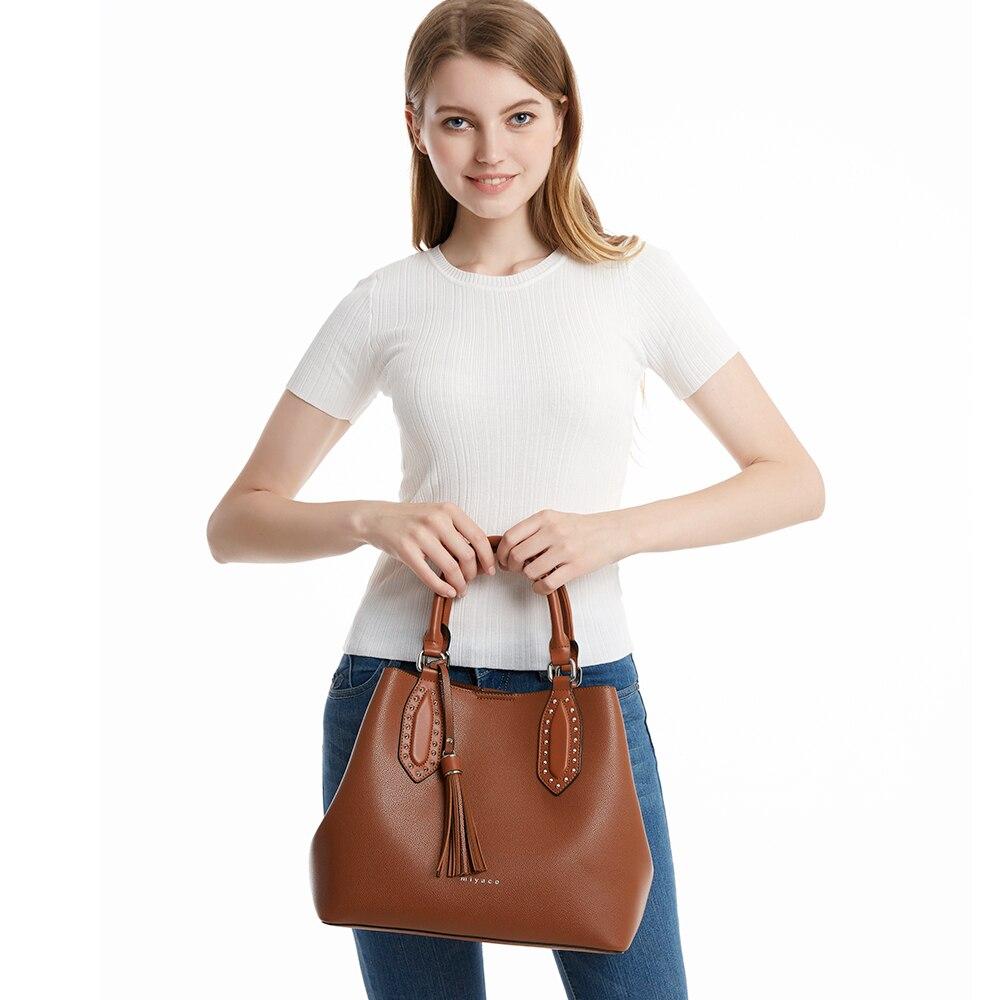 Miyaco Designer Handbag Women Leather Bags Crossbody Bag Casual Tote Female Purse Brown Top Hand Bag