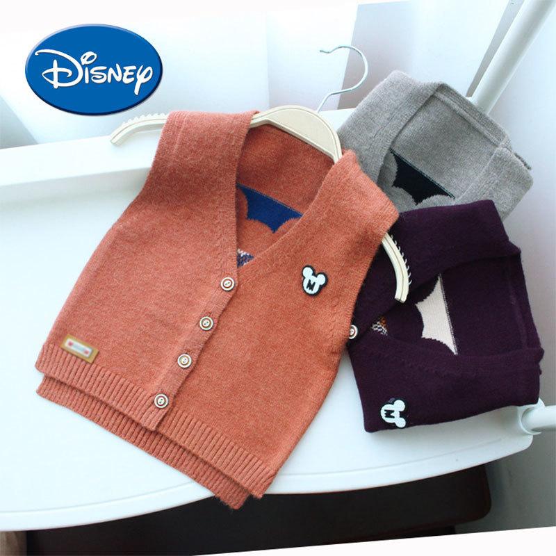 Disney 2018 Autumn Spring New Kids Boy Sweater Vest Mickey Vest Waistcoat V-Neck Sleeveless Jacket floral slash neck vest page 3