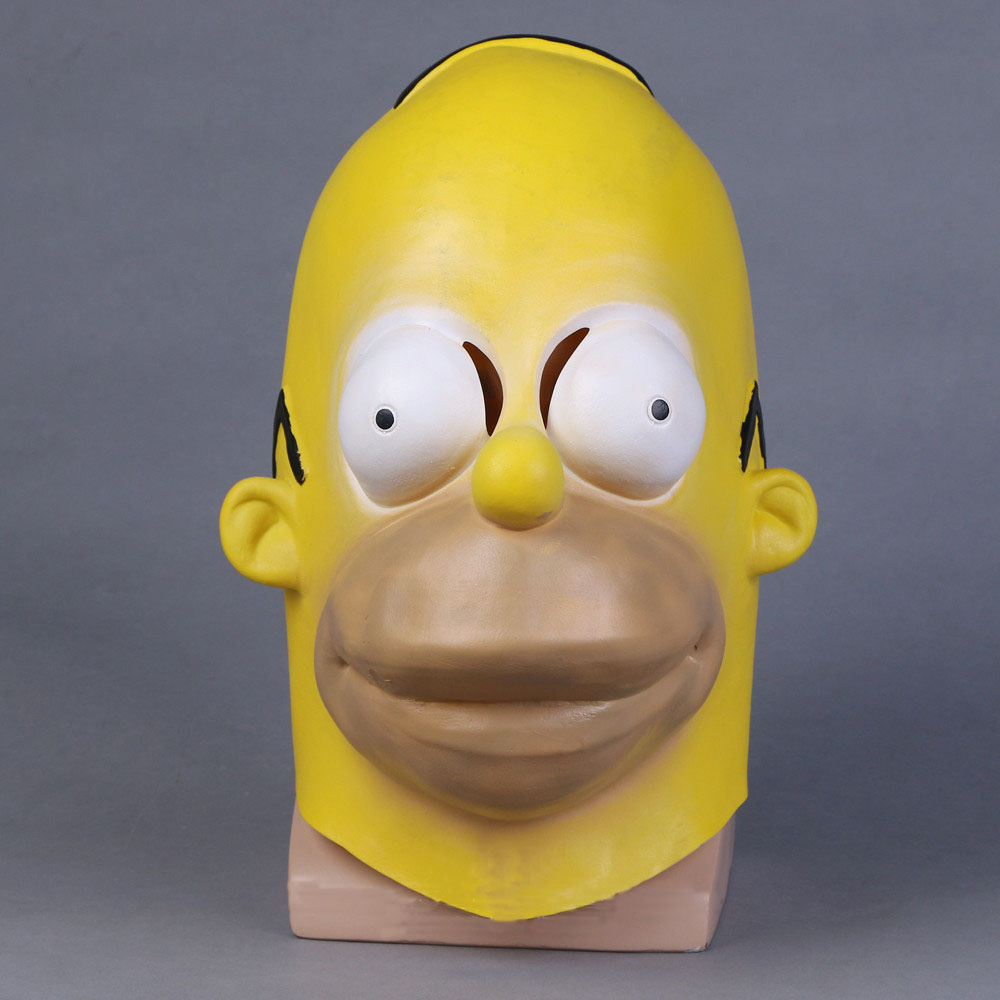 Kartun film the simpsons homer jay simpson cosplay masker kuning unisex lateks kepala penuh menyenangkan props halloween partai fancy bola di anak laki laki