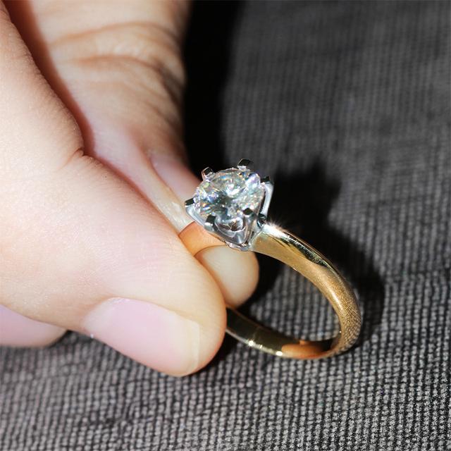 1CT Lab Grown Moissanite Diamond 14K 585 Gold Ring