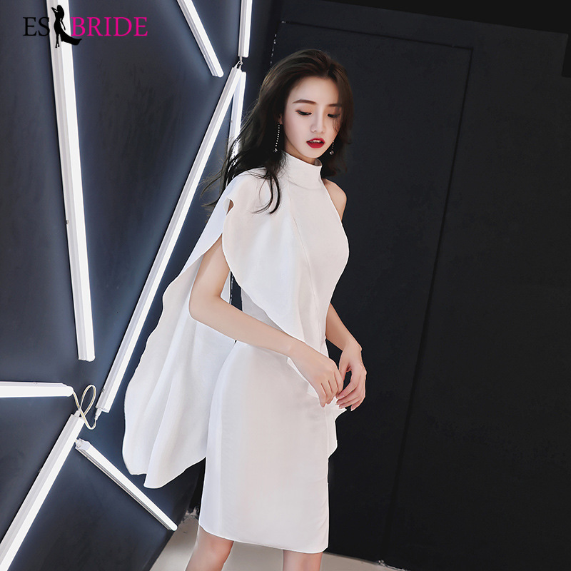 2019 New High Collar Short   Evening     Dresses   Elegant Formal Lace Fashion Casual White Party   Evening     Dresses   Plus Size ES1157