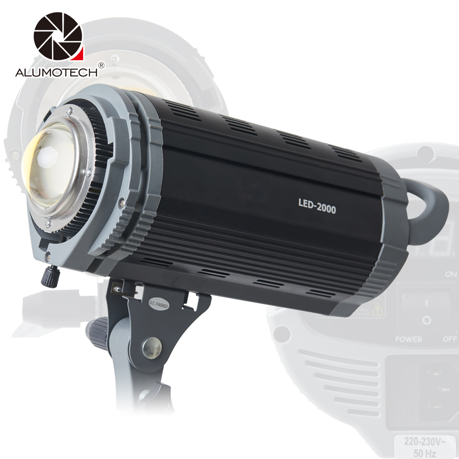 Alumotech Dimming LED Flash Lighting 200W 3200K/5600K Speedlite Strobe Lamp For photography Studio Camera