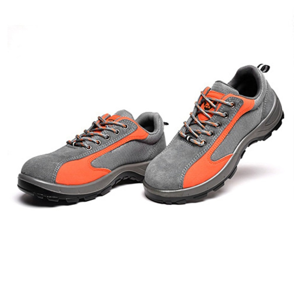 Safety Work Boots Steel Toe Cap Anti-Smashing Puncture Proof Wear Resistant Breathable Protective Shoes for Summer Gray Orange super shock absorbing steel toe cap safety shoes tear resistant breathable work shoes