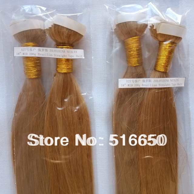 Oo Cheap Aaaa Silky Straight Tape Hair Extension Color 19 Blonde