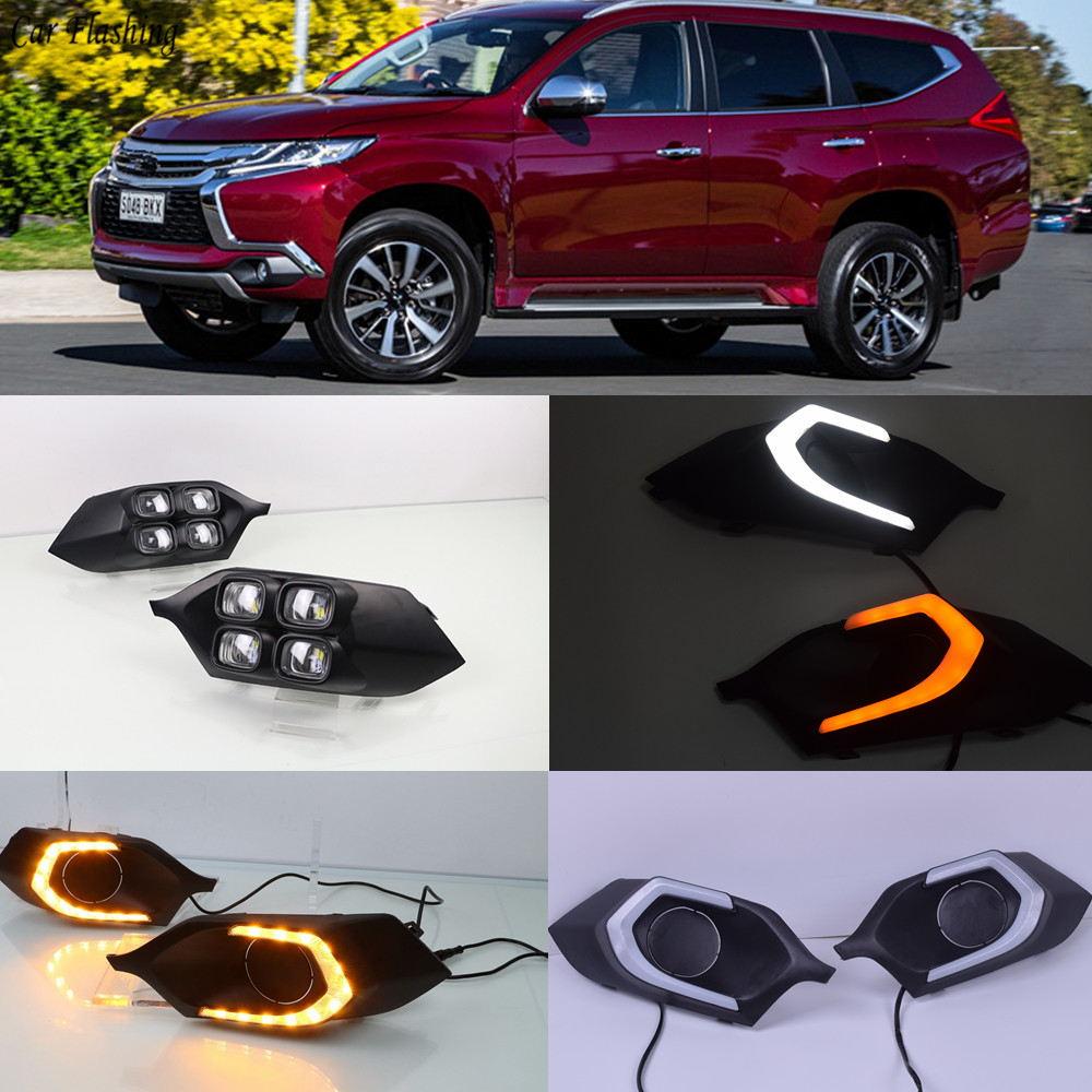 Car Flashing 2Pcs 12v Car LED DRL Daytime running lights for Mitsubishi Pajero Sport 2016 2017