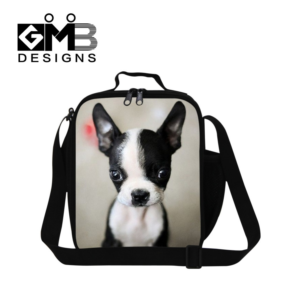 Cute dog pattern inslulted lunch cooler bags lunch box bag for children messenger lunch container for kids school picnic bag