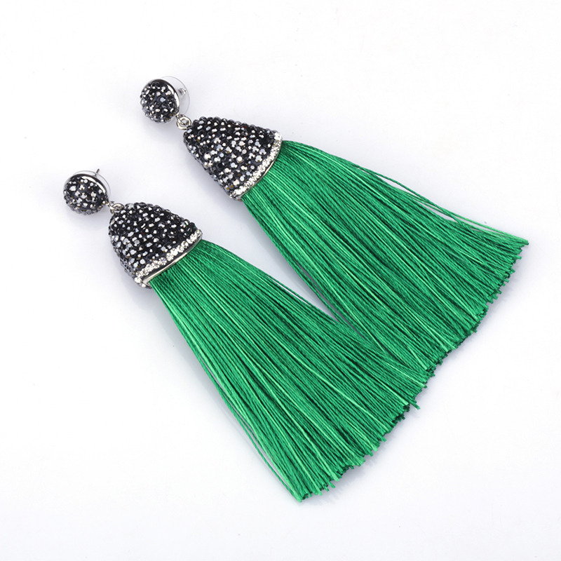 And Great Variety Of Designs And Colors Hot Sale Boho Green Collection Dark Green Olive Silk Chunky Thick Tassel With Rhinestone Cap Charm Studs Dangle Tassel Earrings For Women Famous For High Quality Raw Materials Full Range Of Specifications And Sizes