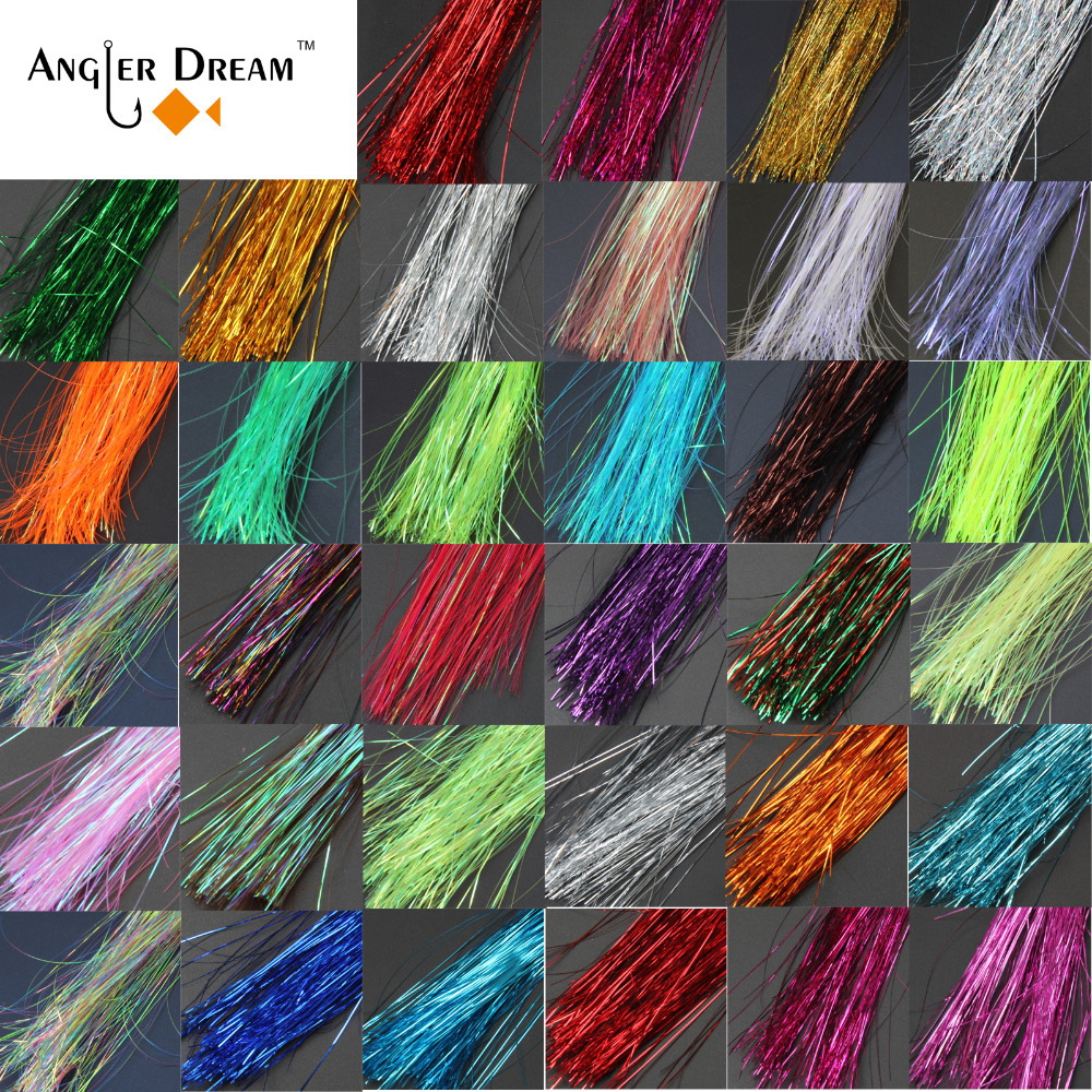 Angler Dream 10 Packs Twisted Flashabou Holographic Tinsel Fly Fishing Tying Crystal Flash for Jig Hook Lure Making Material