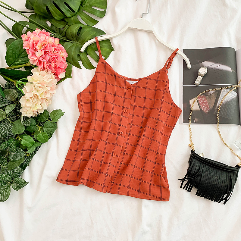 Chic Retro Plaid V Neck Sleeveless Camisole Female Summer Wear Women Casual Tops G350-in Camis from Women's Clothing 1