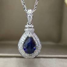 18K White Gold 0.924ct Natural Sapphire + 0.231ct Diamond Pendant Necklace Fine Jewelry Perfume Bottle Pendant with Certificate
