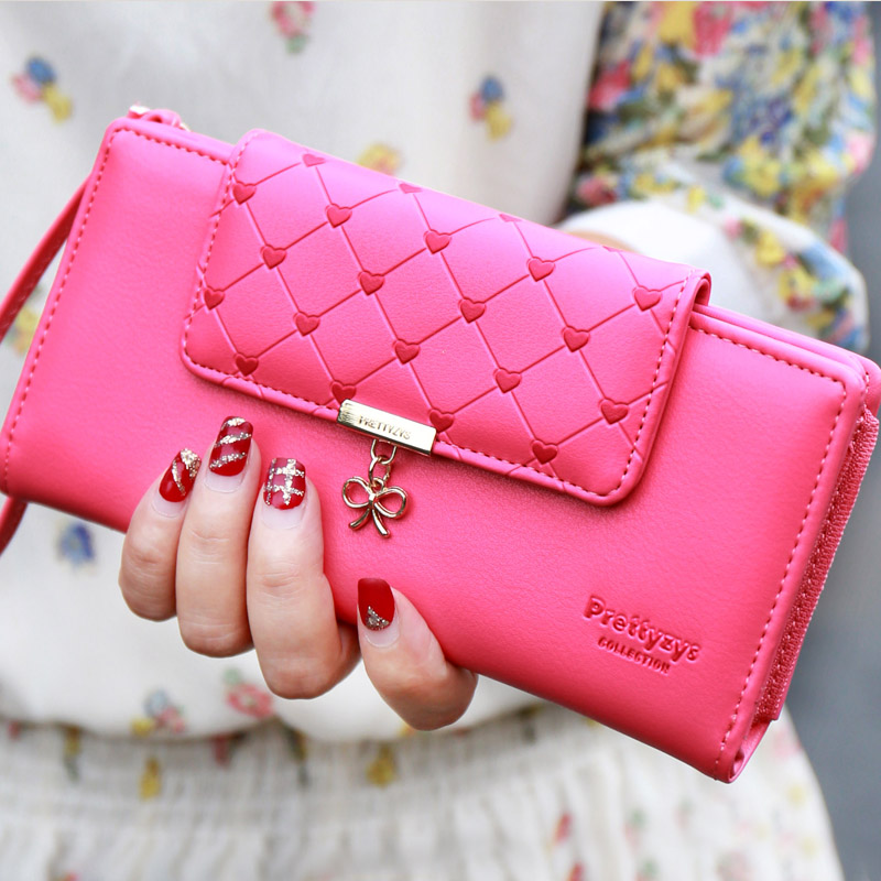 Prettyzys Women Wallet Long PU Leather Wallet With Heart Embossing Candy Color Fashion Bifold Women Clutch Card Holder Purse