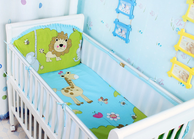 Promotion! 5PCS Lion Cotton Bedding Set Baby Crib Bedding, Children Bedding Suit,include:(bumper+sheet)
