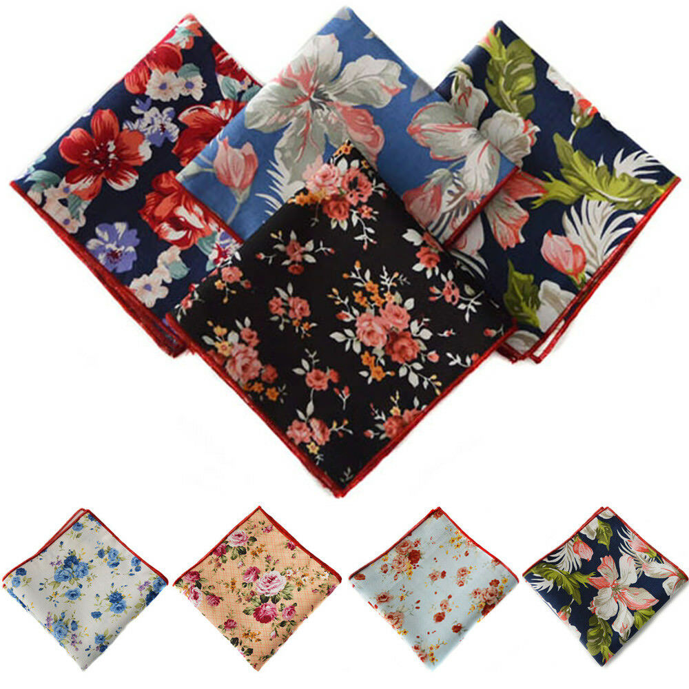 Men's Elegant Flower Floral Handkerchief Wedding Party Hanky Pocket Square NEW YXTIE0508