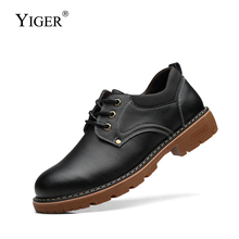 YIGER New men Tooling shoes man causal genuine Leather shoes lace-up Martins male shoes men Low upper leisure shoes non-slip 281 42crmo material press brake upper tooling