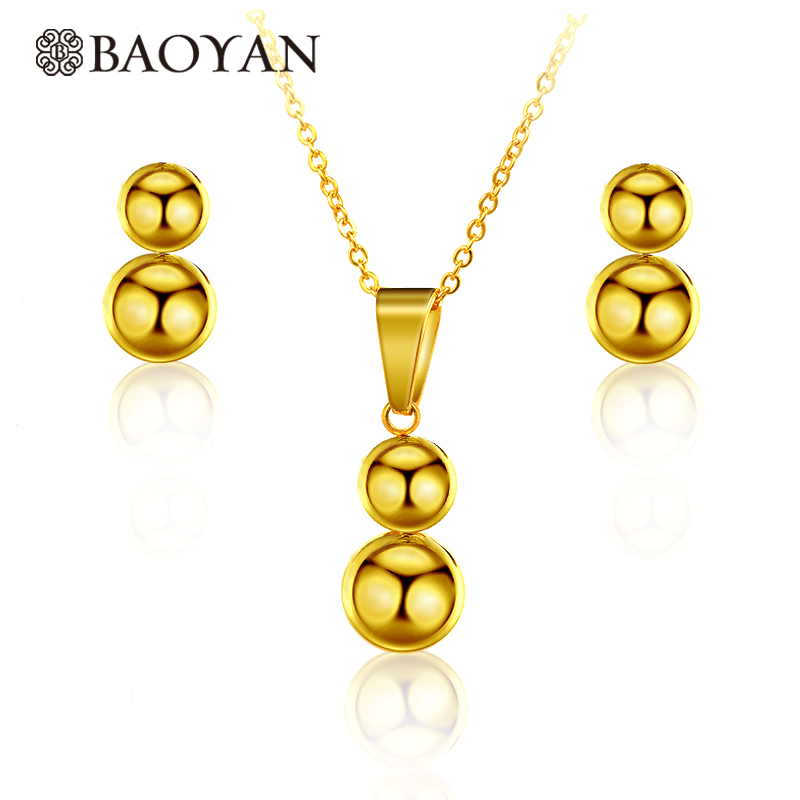 Chic Gold Color Beaded Pendant With Earrings Jewelry Sets For Women in Stainless Steel