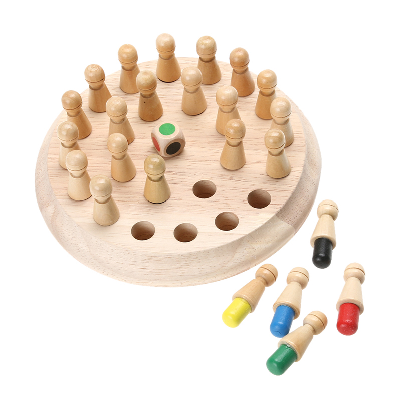 1Set Wooden Memory Training Toy Educational Chess Stick Type Color Guess Cognitive Game Ability Memory Developmental Toy