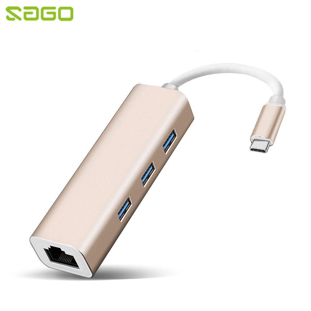 Sago Portable Type C to RJ 45 Convert Ethernet Adapter USB-C to USB 3.0 Thunderbolt 3 compatible for Apple Macbook Pro/XPS 13/15 apple thunderbolt 3 usb c на thunderbolt 2