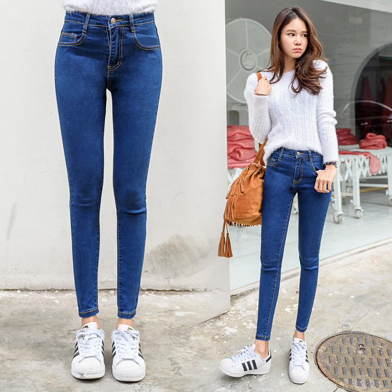 Women Fashion Hight Waisted Skinny Pencil Jeans 2019 Spring Summer Streetwear Stretch Slim Fit Ankle Length Pants Plus Size