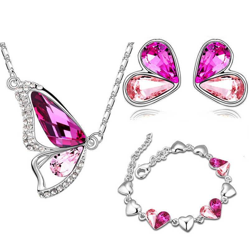 Österreichischen Kristall schmetterling libelle Anhänger halskette ohrringe armband mode Schmuck sets freies verschiffen romantische Marke design