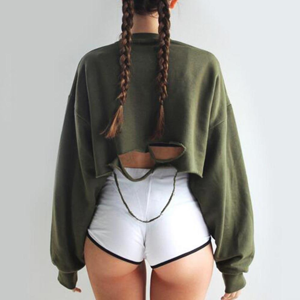FUNOC 2016 automne Chauve-Souris manches cut out vintage déchiré courtes femmes de sweat crop top lâche rétro sexy recadrée hoodies G