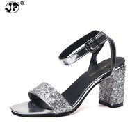 Summer Fashion Women Sandals Open Toe Genuine Leather Thick Med Heels Footwear Bling Ankle Strap Ladies Office Shoes
