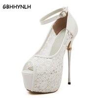 Women Summer Sandals Lace Pumps Women Party Shoes Platform Pumps White Wedding Shoes Stiletto Heels Open