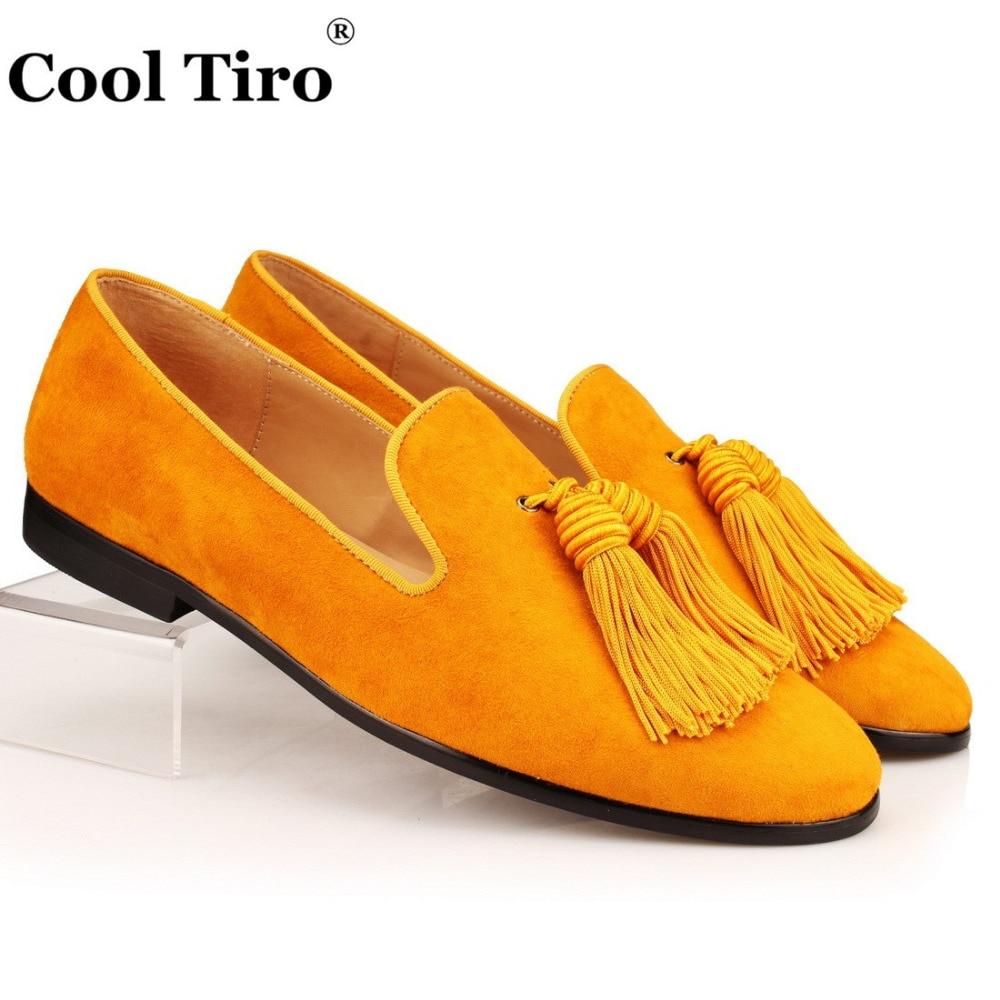 Cool Tiro Gold Suede Loafers Men Slip Slippers Silk Tassel Moccasins Man Casual Flats Men s