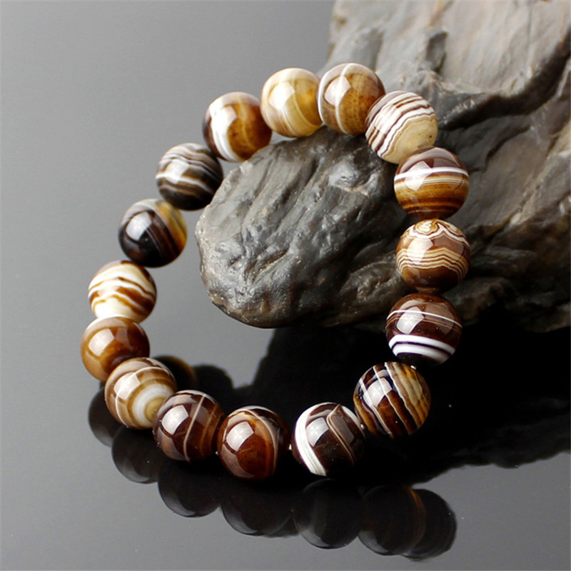 Natural Stones Sardonyx Brown Stripe Agate Bracelets Round Beads Bangle Men Women Crystal Quartz Jewelry Love Energy GiftNatural Stones Sardonyx Brown Stripe Agate Bracelets Round Beads Bangle Men Women Crystal Quartz Jewelry Love Energy Gift