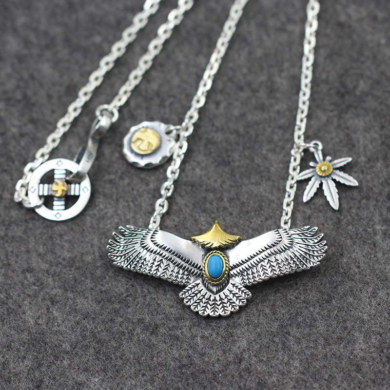 S925 Sterling Silver Retro Thai Silver Vintage Takahashi Goro Bird Leaf Pendant Set Men And Women Too Angle Necklace