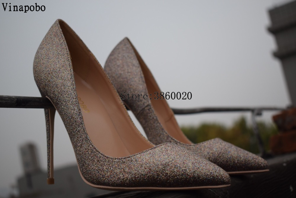 Taille Chaussures Or Sexy Haute Pointu Glitter Stilettos Grande 8cm 35 Pompes Bout Bling Noce Talons Vinapobo 43 Femmes 6xqv8wdUq