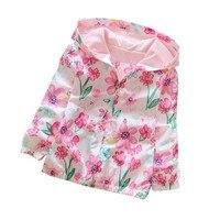Spring Autumn Kids Girls Flowers Printing Camouflage Hooded Jackets Long Sleeve Windbreaker 2 7Y Baby Girls