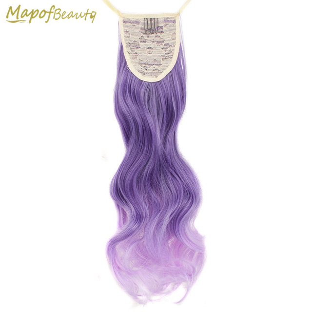 Long Curly 20 Purple To Light Purple Ombre Clip In Ponytail