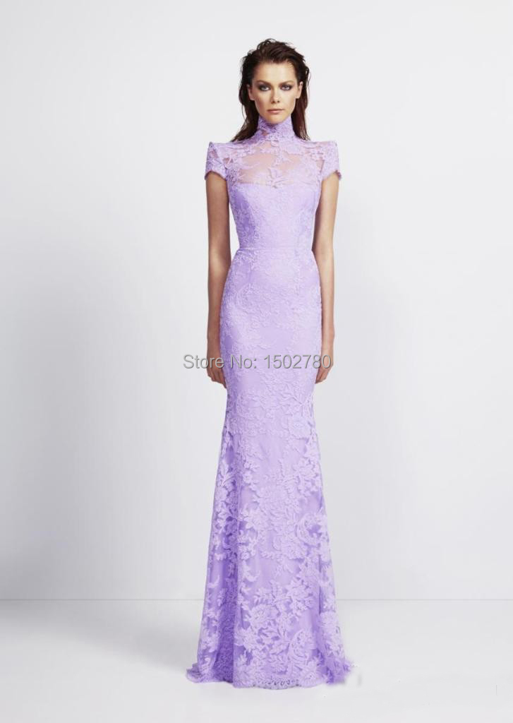 Aliexpress.com : Buy Lilac Bridal Gown High Neck Short Sleeve ...