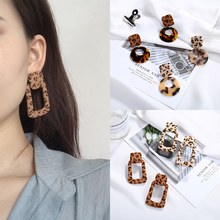 Classic Sexy Leopard Print Cloth Velvet Button Vintage Acrylic Acetate Round Circle Rectangle Square Earrings for Women Girls