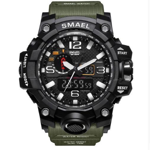 SMAEL Military Watch 50M Waterproof Wristwatch Led Quartz Clock Sport Watch Male Relogios Masculino 1545 Sport S Shock Watch Men цена и фото
