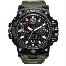 SMAEL Военная Униформа часы 50 м водостойкие наручные Led Кварцевые спортивные часы мужской Relogios Masculino 1545 Спорт S шок часы для мужчин