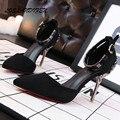 2016 Mulheres de cristal Ornamentado saltos Dedo Do Pé Redondo Gaiola Quadrado Gancho Laço sapatos partido senhoras de salto alto Stiletto sapatos mary jane