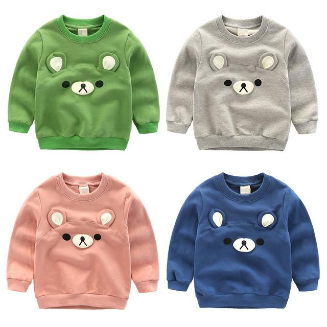 2016 nova Primavera outono crianças camisolas dos desenhos animados 3D urso tops T-shirt da roupa Do Bebê das meninas Dos Meninos de algodão puro crianças puro cor