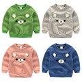 2016 nueva Primavera otoño niños sudaderas 3D de dibujos animados oso tops Niños niñas de algodón puro de La Camiseta Del Bebé ropa niños color puro