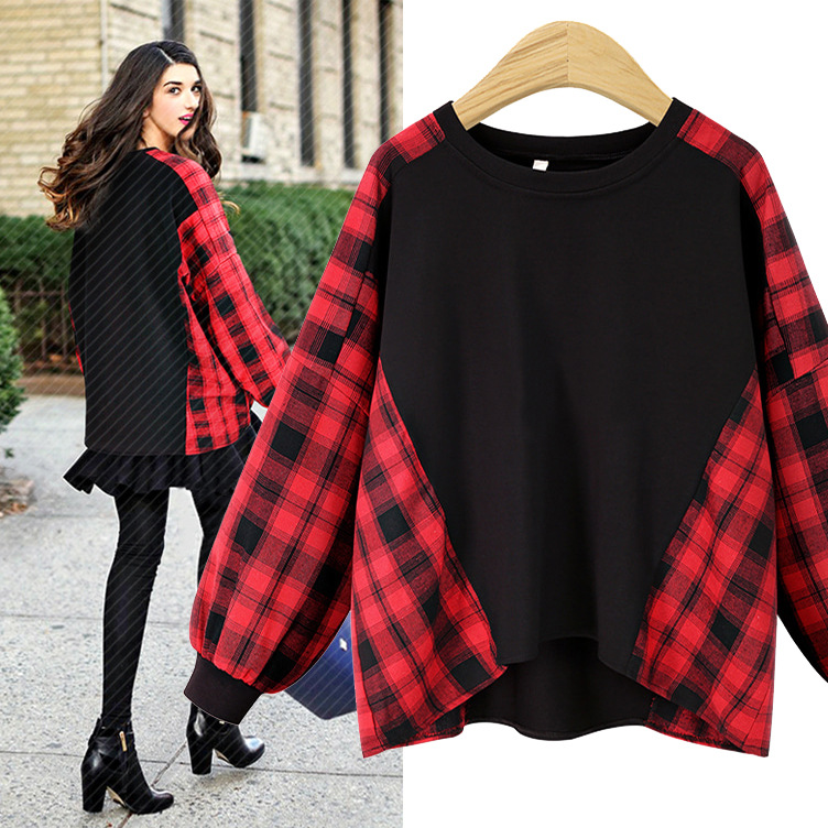2018 New Hot Automne Hiver Plus La Taille Patchwork Lâche De Mode En Coton À Carreaux T-shirt Femelle Chemise À Manches Longues Femmes Tops