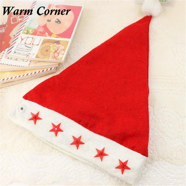 warm corner 1pc new hot kids santa claus red cap flashing star lighted christmas caps xmas