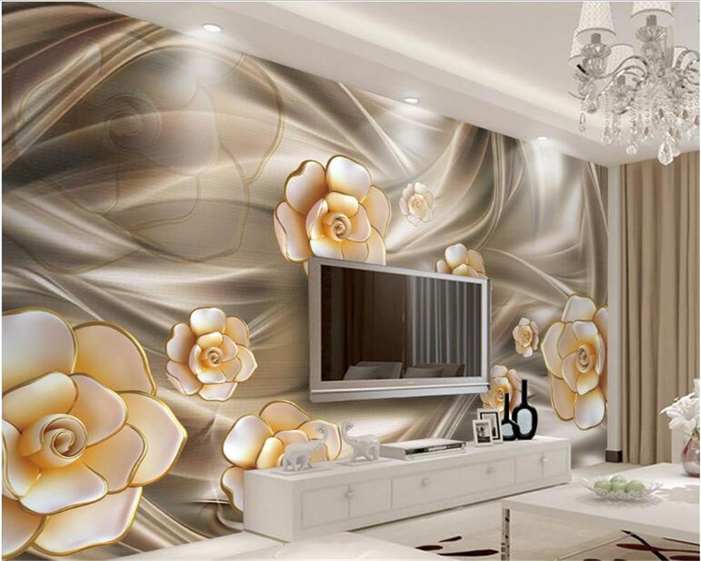 Beibehang 3D Fashion Estetika Yang Indah Wallpaper Tahan Air Tiga Dimensi Mimpi Bunga Perhiasan Latar Belakang