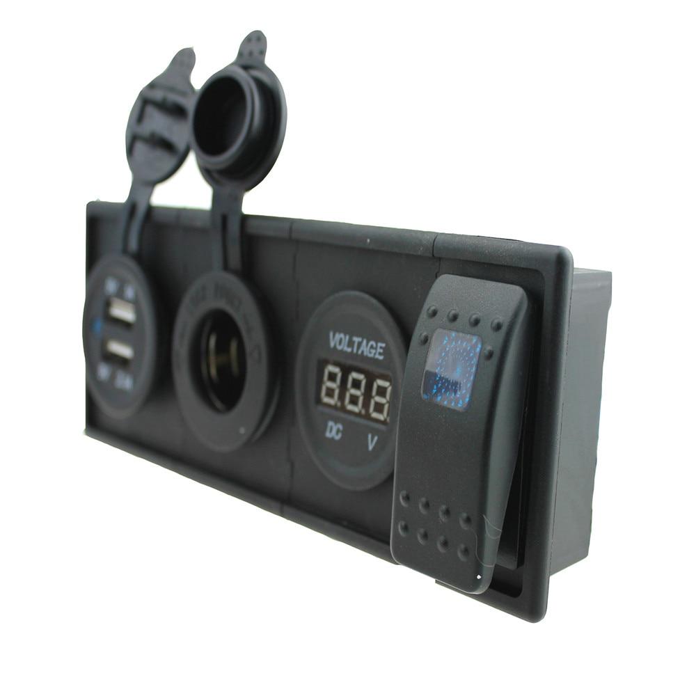 3.1 A USB Port Power  Sockets  DC 12V- 24V Led Voltmeter  Three Color Can Be Choose Blue Led  Rocker Switch With  Housing Holder
