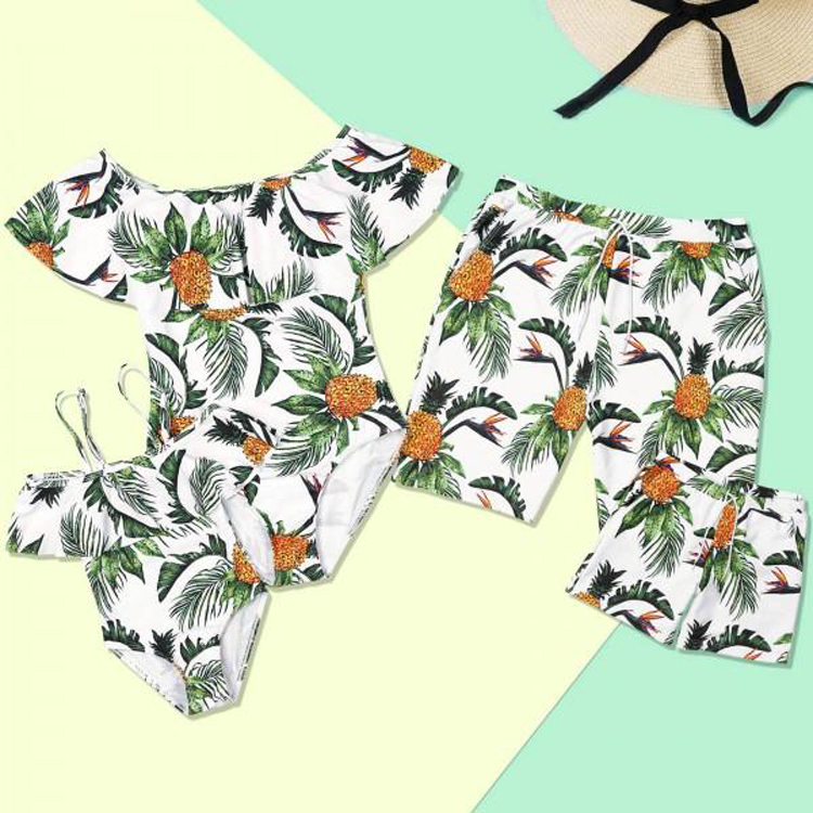 mother father kids family pineapple print swimsuit