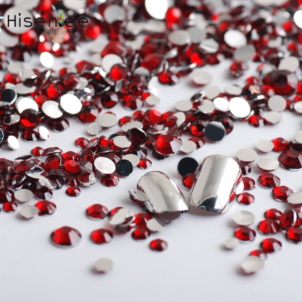 2000PCS/Bag Classic Fashion Mixed Size Rhinestone Red Color Charm Style Design Resin for DIY Gorgeous Nail Art Decoration Tools