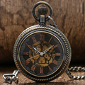 Steampunk Skeleton Male Clock Transparent Mechanical Hand Wind Bronze Copper Open Face Retro Vintage Pendant Pocket Watch Gift