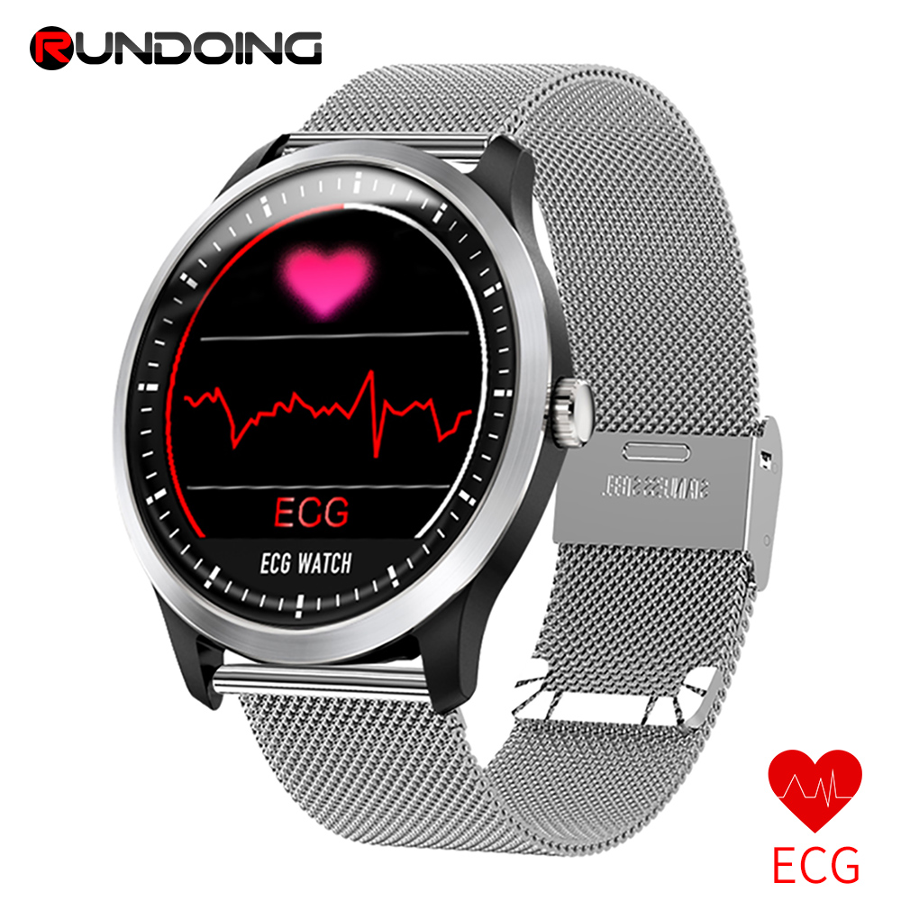RUNDOING N58 ECG PPG smart watch with electrocardiograph ecg display,holter ecg heart rate monitor blood pressure smartwatch new garmin watch 2019
