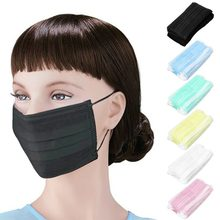 50pcs/pack Black Non Woven Disposable Face Mask Medical dental Earloop Activated Carbon Anti-Dust Face Surgical Masks(China)